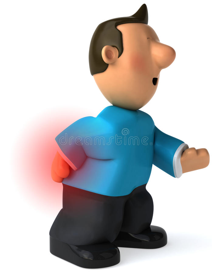 Back pain. Man suffering badly of back pain, 3D generated vector illustration