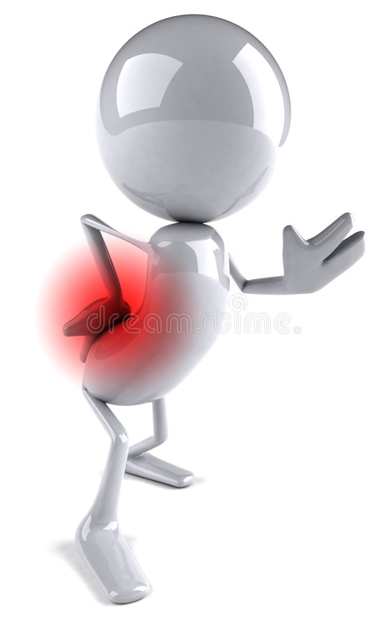 Back pain. Man suffering badly of back pain, 3D generated royalty free illustration