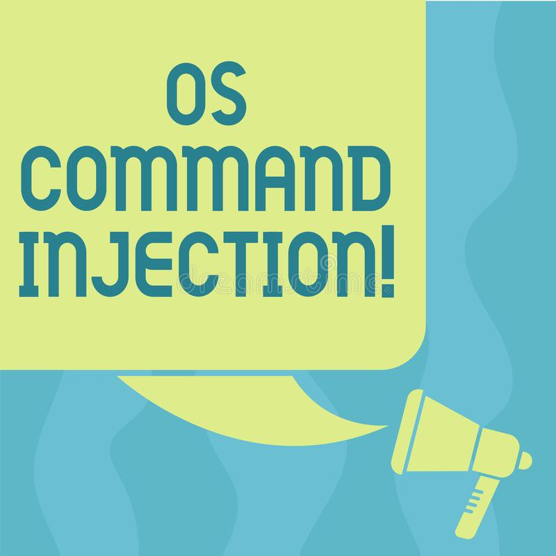 Conceptual hand writing showing Os Comanalysisd Injection. Business photo showcasing Attack technique used for illegal. Execution of comanalysisds Color royalty free illustration