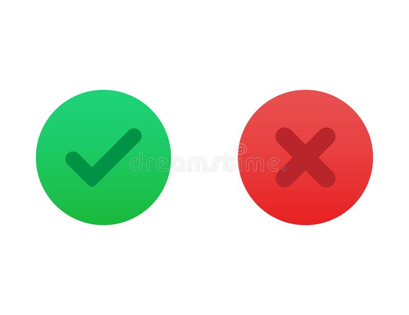 Correct or incorrect icon. Right or wrong answer in green and red gradient colors. Ok and no cross checkmark. Positive and vector illustration