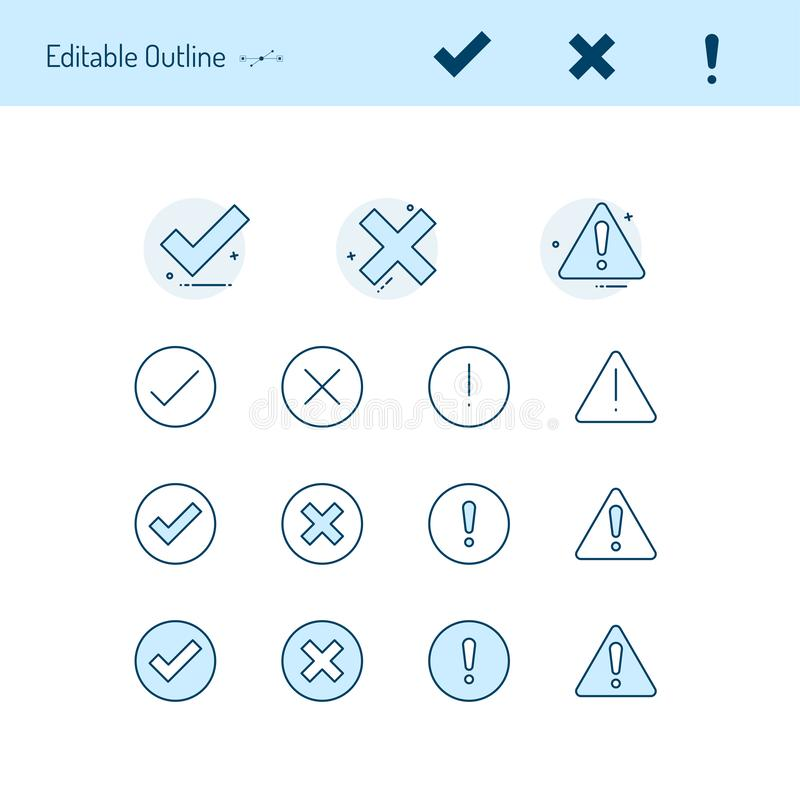 Correct incorrect thin line icons, Caution icon, right wrong icon, accept reject, tick, cross, close, positive negative vector illustration