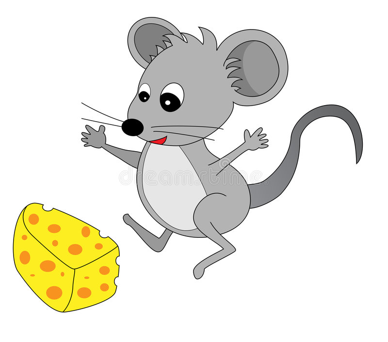 Cute Mouse Found Some Cheese royalty free illustration