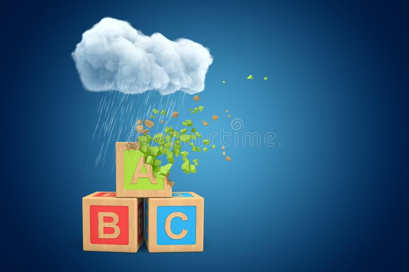 3d rendering of three ABC blocks standing under white raining cloud on blue copyspace background, upper block dissolving. In pieces. Educational issues. Early royalty free illustration