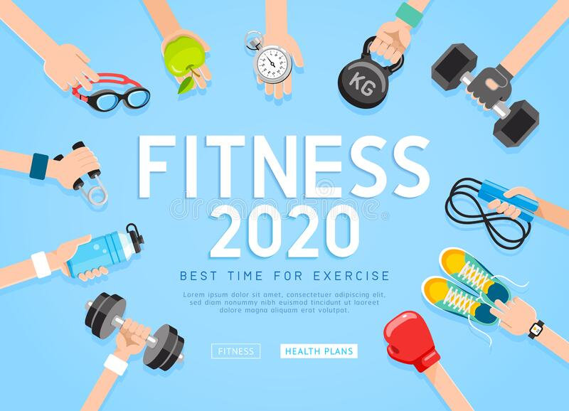 Exercises 2020 conceptual design. Set of young people doing workout. Sport fitness banner promotion vector Illustrations. Exercises 2020 conceptual design. Set vector illustration