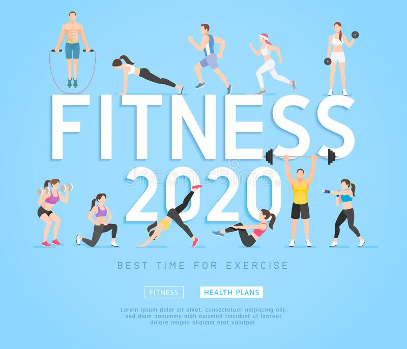 Exercises 2020 conceptual design. Set of young people doing workout. Sport fitness banner promotion vector Illustrations. Exercises 2020 conceptual design. Set stock illustration