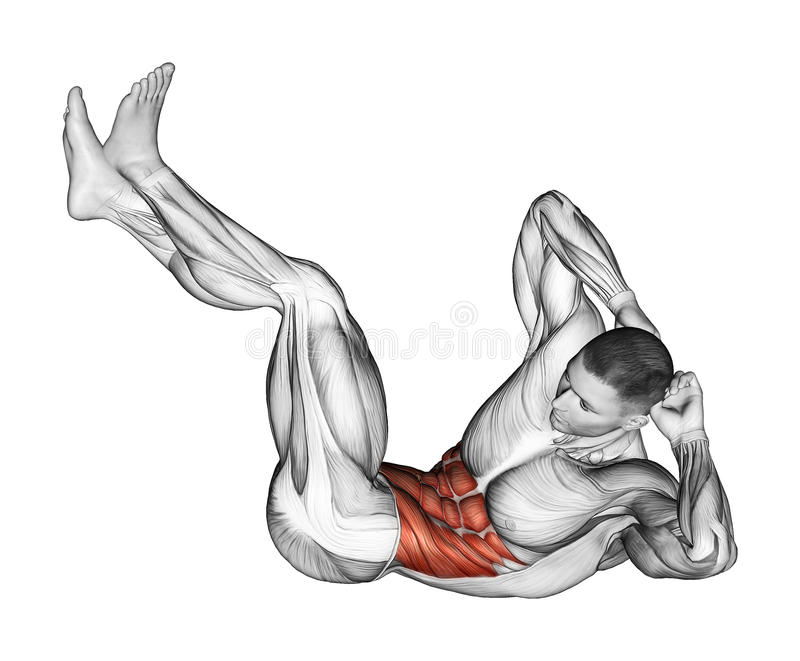 Exercising. Collapsing on the floor of the trunk stock illustration