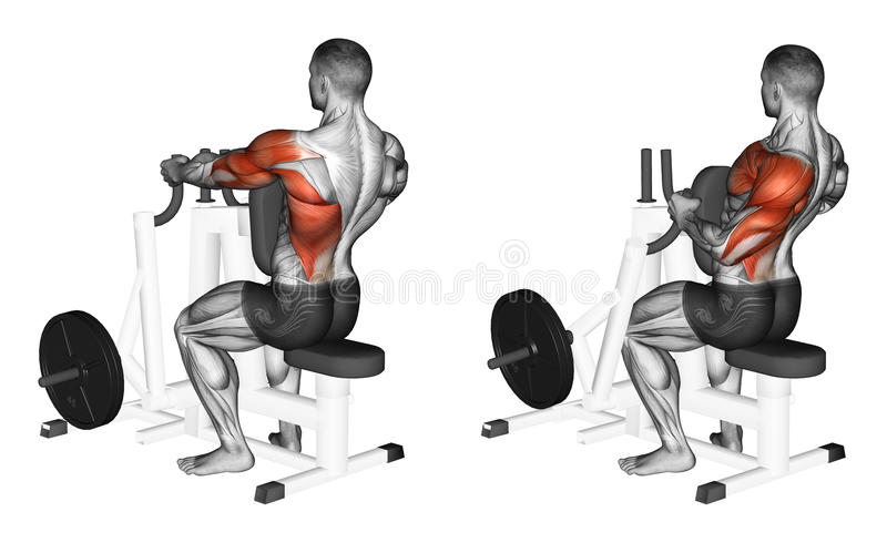 Exercising. Horizontal thrust on simulator stock illustration