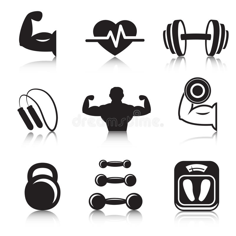 Fitness bodybuilding sport icons set. Of strength and slimness training exercises isolated vector illustration stock illustration