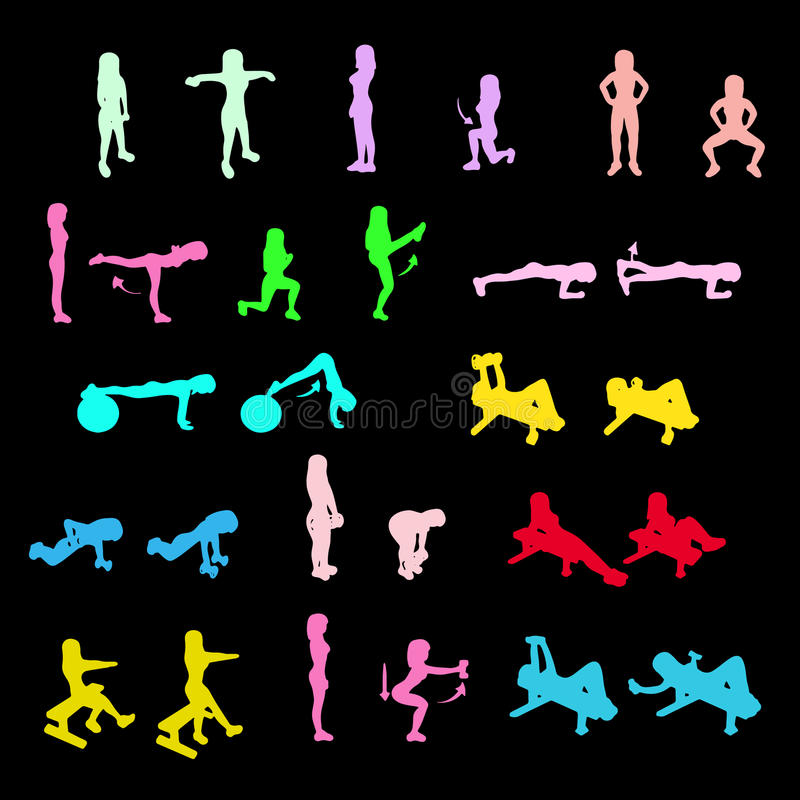 Fitness Exercises icons Set. Fitness Exercises colorful icons Set stock illustration