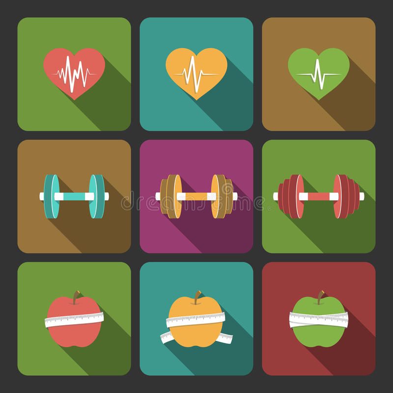 Fitness exercises progress icons set. Of cardio equipment and diet isolated vector illustration vector illustration