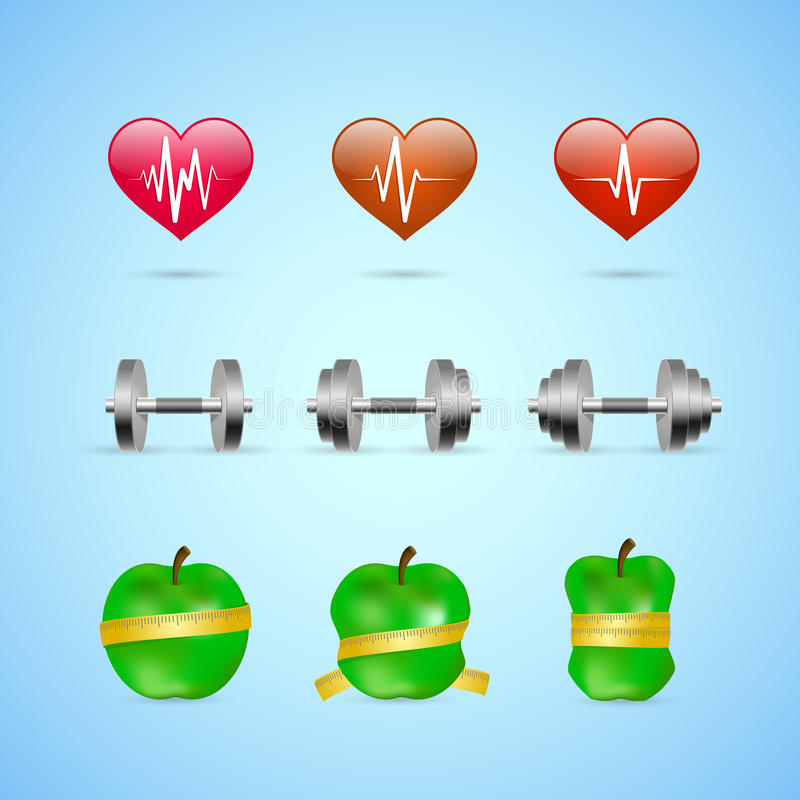 Fitness exercises progress icons set. Of heart rate strength and slimness isolated vector illustration vector illustration