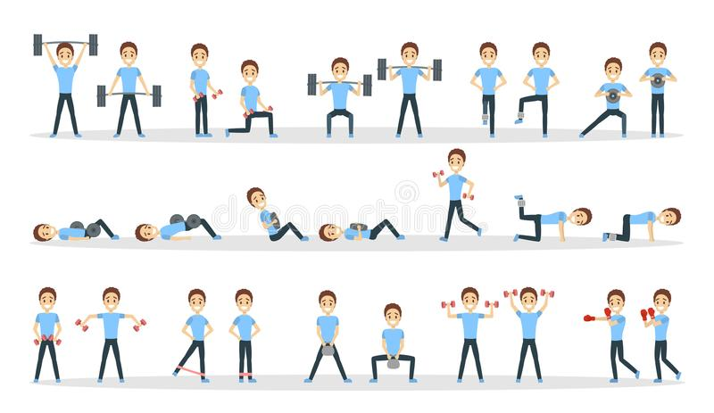 Fitness exercises set. Man doing fitness in gym royalty free illustration