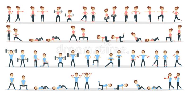 Fitness exercises set. Man and woman doing fitness in gym royalty free illustration