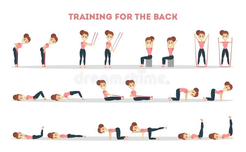 Fitness exercises set. Woman doing fitness in gym for back stock illustration
