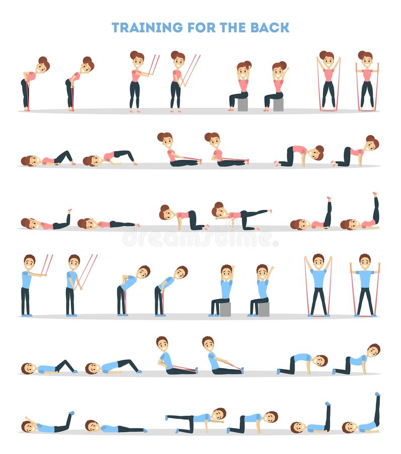 Fitness exercises set. Woman and man doing fitness in gym for back royalty free illustration