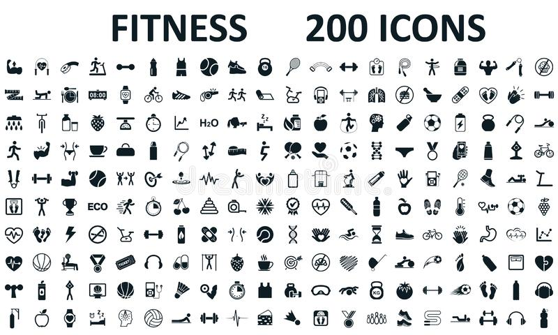 Fitness icons set 200 isolated. Fitness exercise, sport workout training illustration. Characters doing exercises sport figures. – stock vector illustration