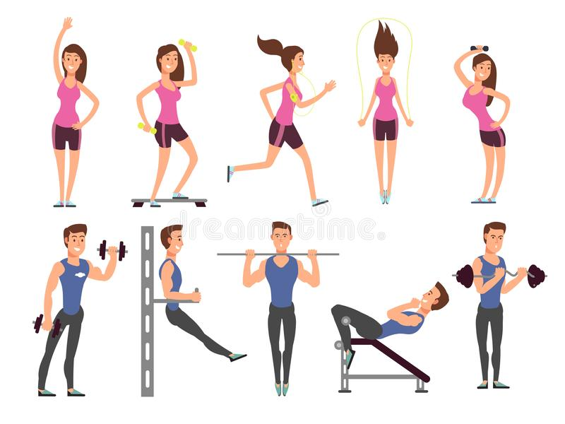 Fitness people vector cartoon characters set. Women and men athletes make exercises with sports equipment. Fitness sport exercise for body illustration stock illustration