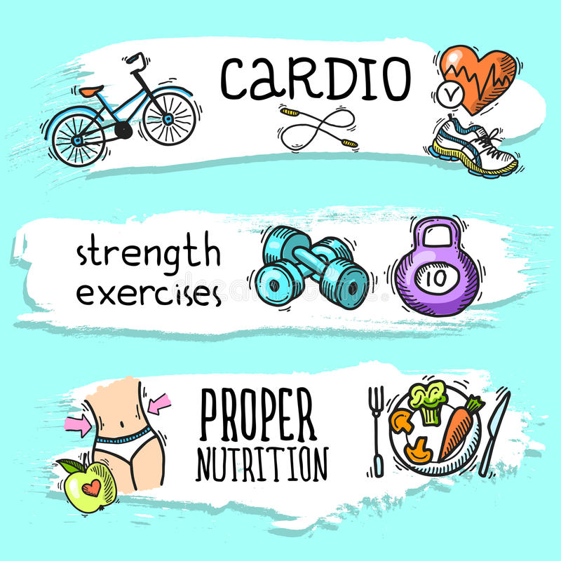 Fitness sketch banner set. Fitness cardio strength exercises proper nutrition colored sketch horizontal banner set isolated vector illustration royalty free illustration