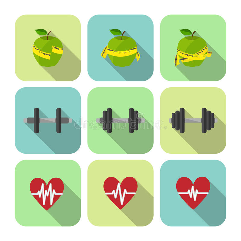 Fitness sport exercises progress icons set. Of heart rate diet and dumbbells isolated vector illustration stock illustration