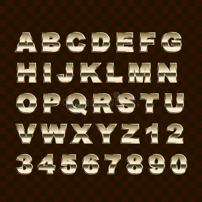 Golden Style Upper Case Letters and Numbers Collection. Golden Style Upper Case Alphabet Letters and Numbers Collection royalty free illustration