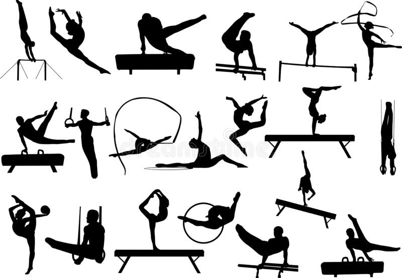 Gymnastics silhouettes collection vector illustration
