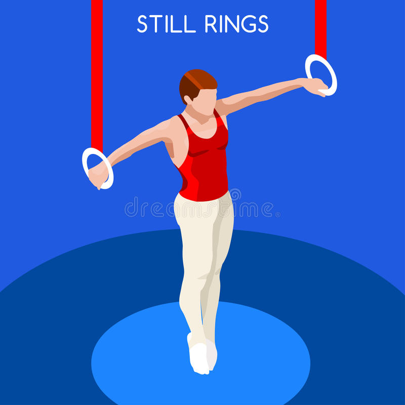 Gymnastics Still Rings Olympic Icon Set.3D Isometric Gymnast.Sporting Championship International Competition. royalty free illustration