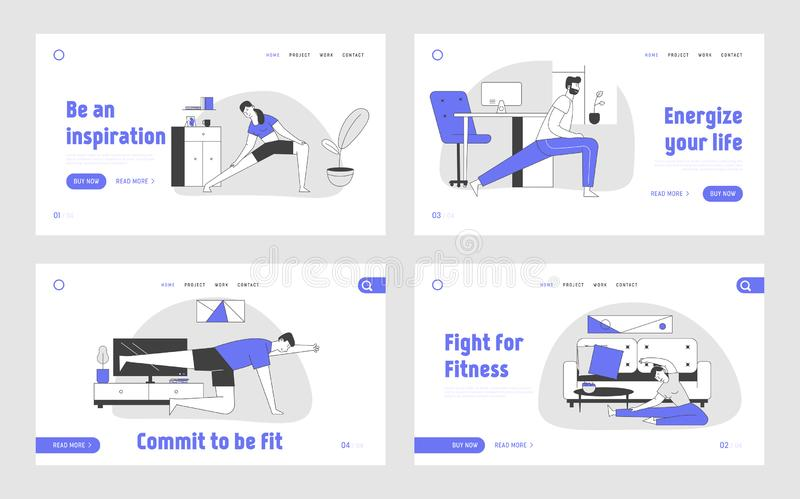 Gymnastics Workout at Home Website Landing Page Set. People Doing Fitness Exercises for Flexibility and Fit Body. In Domestic Room Interior Web Page Banner stock illustration