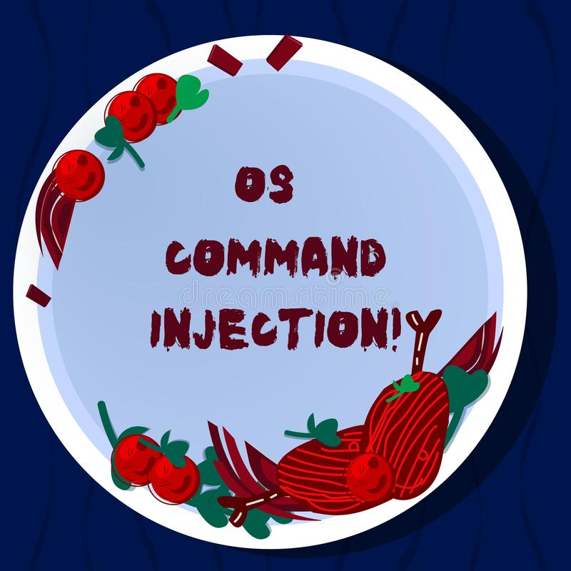 Handwriting text Os Comanalysisd Injection. Concept meaning Attack technique used for illegal execution of comanalysisds. Hand Drawn Lamb Chops Herb Spice royalty free illustration