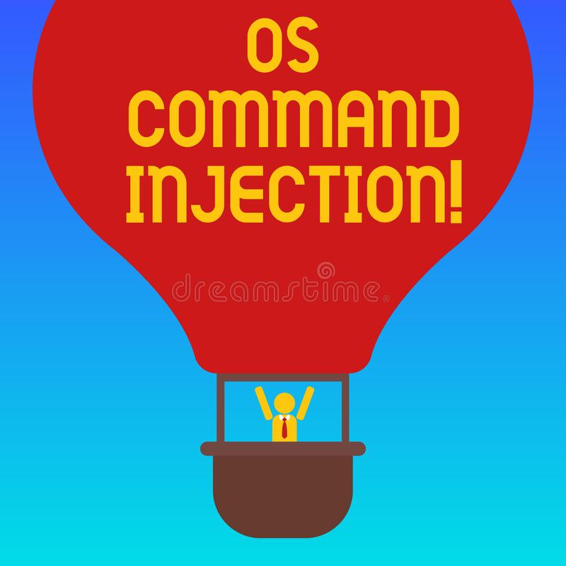 Handwriting text Os Comanalysisd Injection. Concept meaning Attack technique used for illegal execution of comanalysisds. Hu analysis Dummy Arms Raising inside royalty free illustration