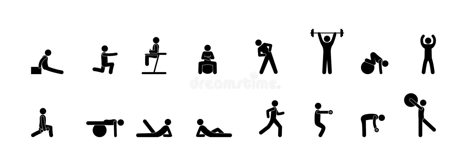 Icons of people in the gym, fitness, yoga and strength exercises, set of silhouette isolated. On white background, sports equipment and man illustration royalty free illustration