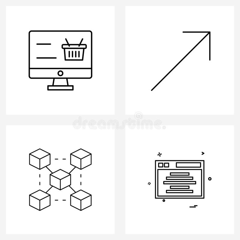 4 Interface Line Icon Set of modern symbols on online shopping; crypto currency; arrow; block; web. Set of 4 Universal Line Icons of online shopping; crypto stock illustration