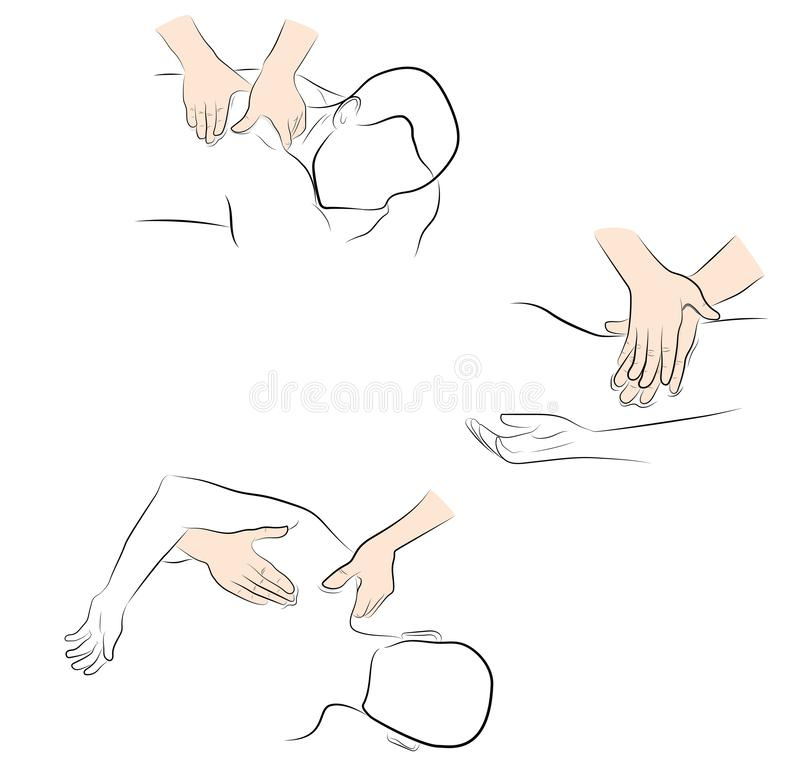 Massage techniques. correct execution of the massage. vector illustration.  royalty free illustration