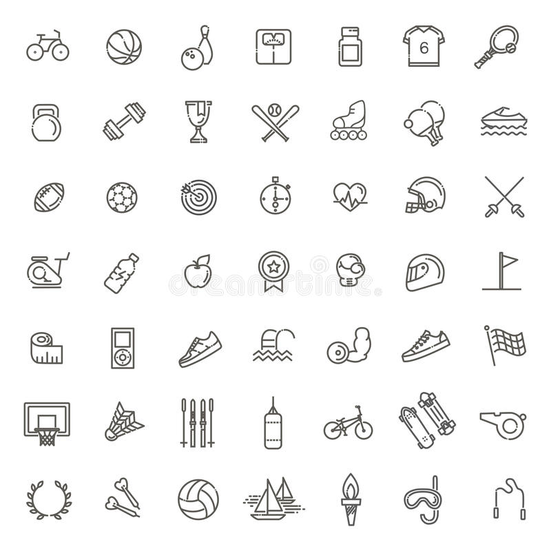 Outline web icon set - sport and fitness. Outline web vector outline icon set - sport and fitness royalty free illustration