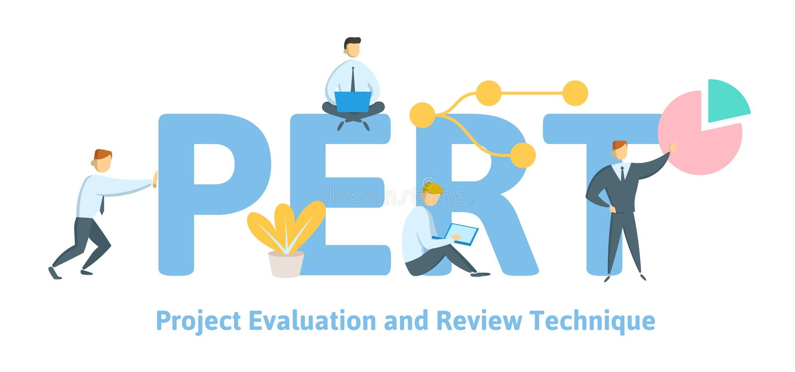 PERT, Project evaluation and review technique. Concept with keywords, letters and icons. Flat vector illustration on. PERT, Project evaluation and review royalty free illustration