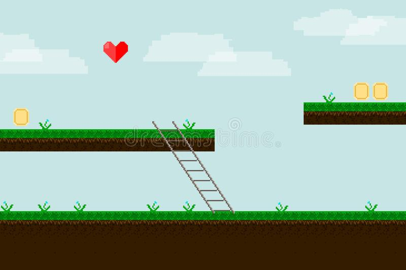 Pixel art game background with ground, grass, sky and clouds. Game. Background in the game pixel style. Tracks with grass coins and a heart of pixels. a ladder stock illustration