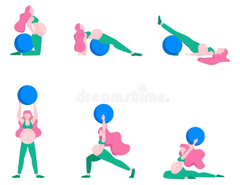 Pregnant woman doing fitness set. Exercises with fit ball. Fitness and sport during pregnancy. Healthy lifestyle and relaxation. Isolated vector illustration royalty free illustration