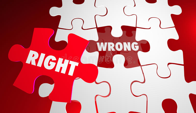 Right Vs Wrong Correct Accurate Puzzle Pieces vector illustration