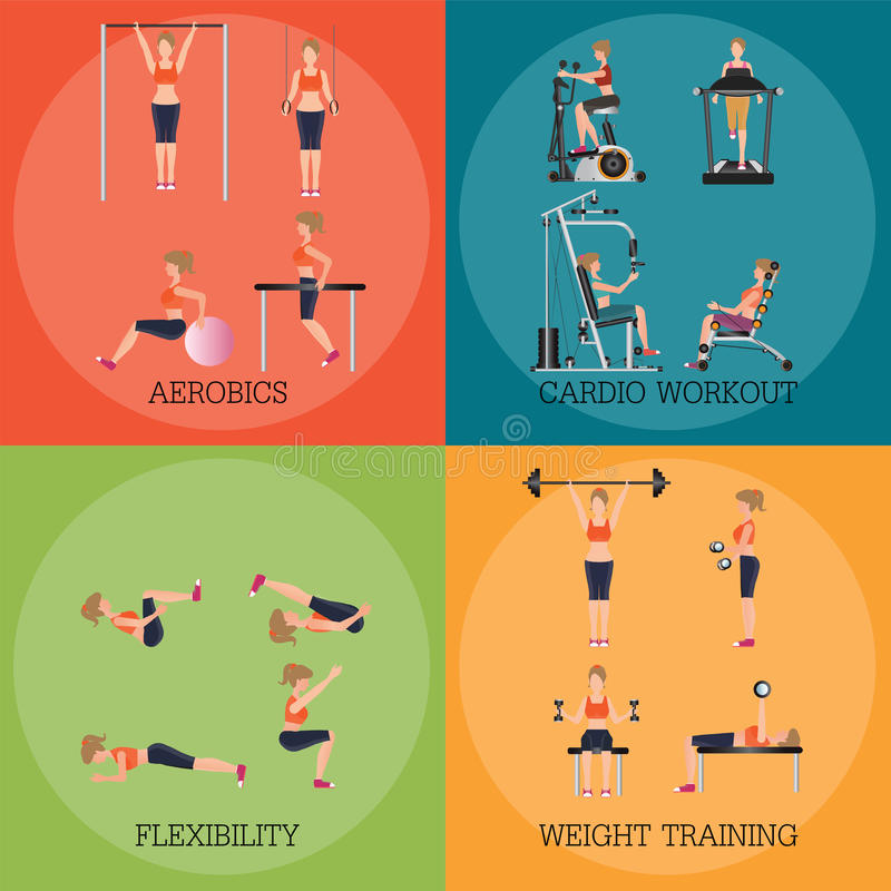 Set of fitness aerobic strength and body shaping exercises. Set of fitness aerobic strength and body shaping exercises, sport banner vector illustration royalty free illustration