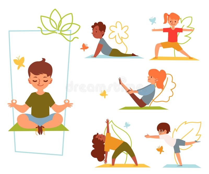 A set of kids and children doing yoga in various poses and stretching or fitness exercises on mat. Kids girls and boys do yoga asanas for health. Isolated flat vector illustration