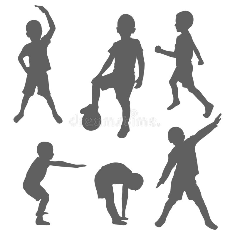 Set of silhouettes of a boy doing sports and fitness. The concept of performing physical exercises by a child and outdoor. Activities. Healthy lifestyle royalty free illustration