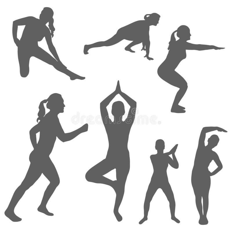 Set of silhouettes of a women engaged sports and fitness. The concept of performing physical exercises by a girl and outdoor. Activities, healthy lifestyle royalty free illustration