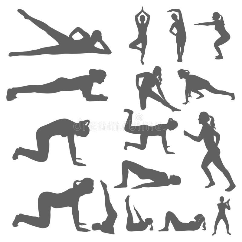 Set of silhouettes of a women engaged sports, fitness, yoga and pilates. Performing physical exercises by a girl and outdoor. Activities. Healthy lifestyle royalty free illustration