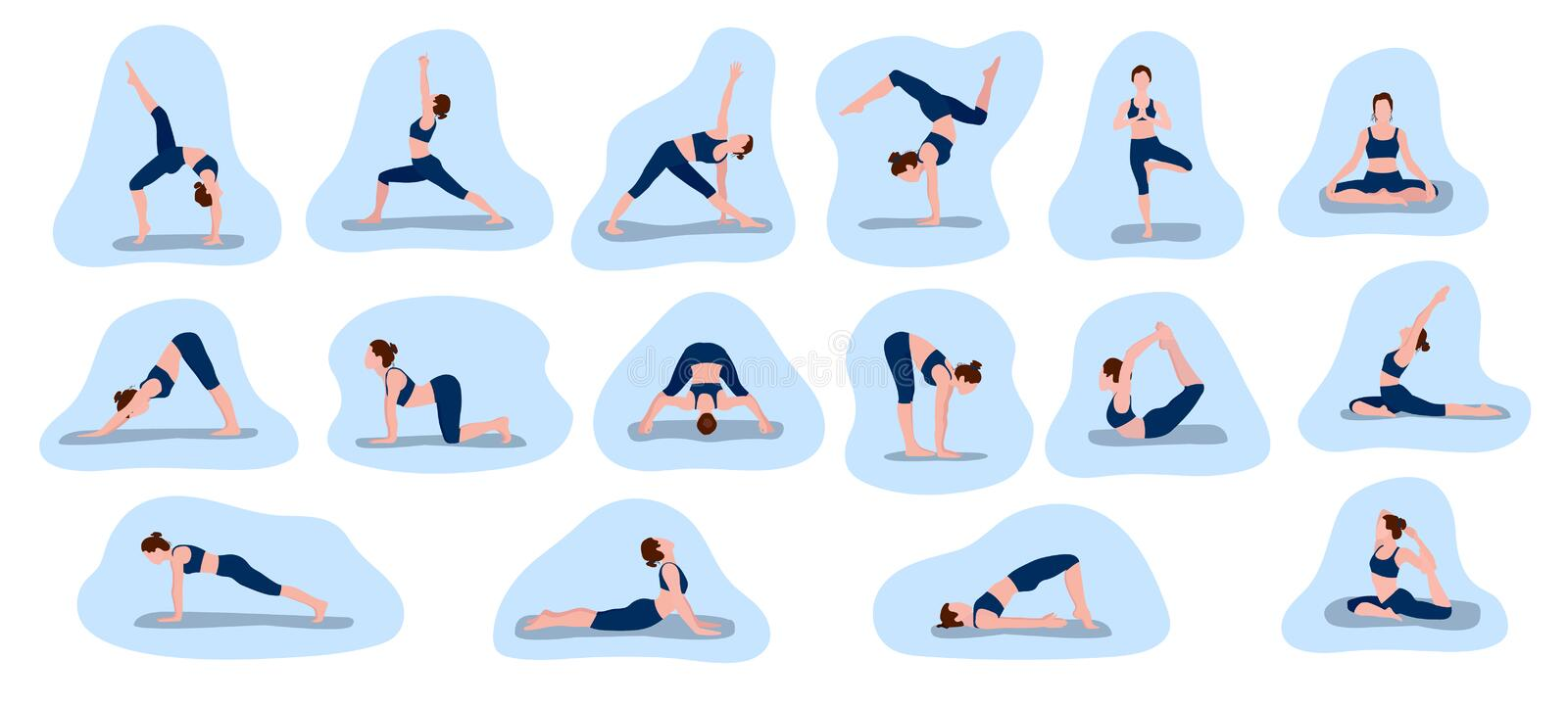 Set of vector illustrations depicting a sporty young woman doing yoga and fitness exercises. A collection of female characters. Set of