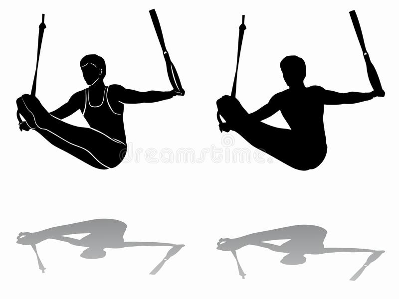 Silhouette of gymnast on still rings, vector draw vector illustration