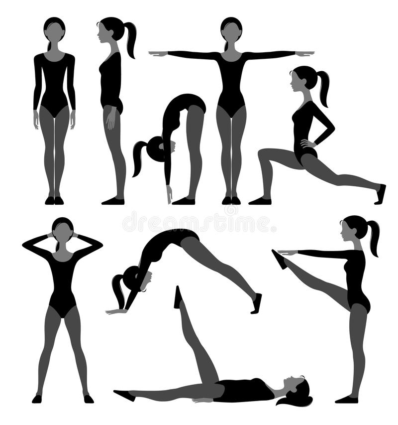 Silhouette set of slim girl in fitness suit doing exercises isolated on white. There is in addition a vector format EPS 8 stock illustration