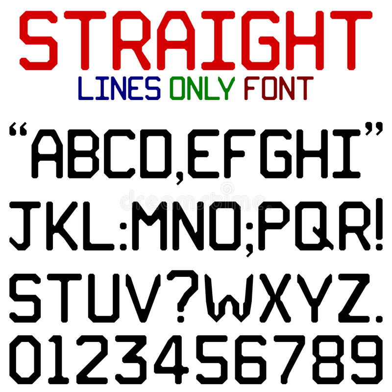 Straight Lines Font. Upper case alphabets, numerals and punctuation characters in chunky black retro font using straight lines only. No curved lines or corners stock illustration