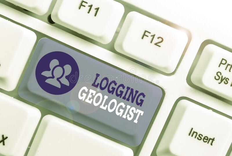 Text sign showing Logging Geologist. Conceptual photo Layout and execution of definition diamond drill programs. Text sign showing Logging Geologist. Business stock illustration