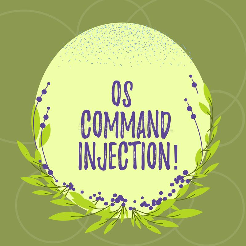 Text sign showing Os Comanalysisd Injection. Conceptual photo Attack technique used for illegal execution of. Comanalysisds Blank Color Oval Shape with Leaves stock illustration