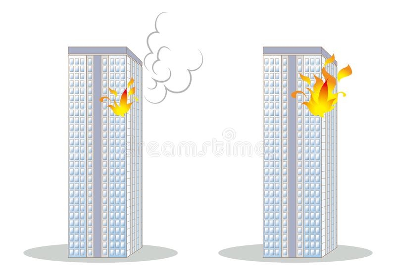 Tower block fire image set. Architectural material made with vector stock illustration