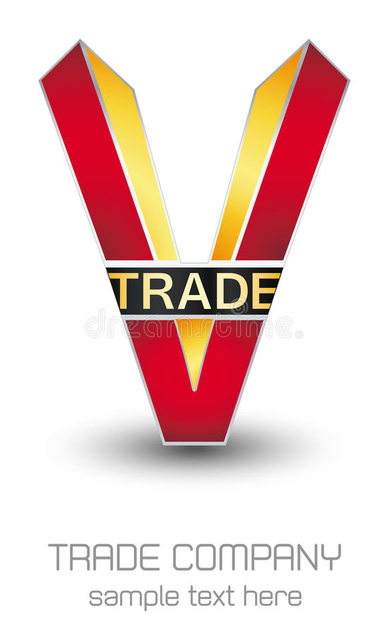 V Trade Company logo. Red and yellow upper case V with graphic trade on white stock illustration